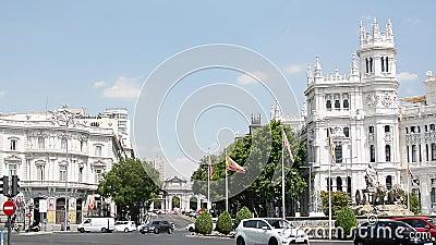Footage of Madrid City Hall. City Hall of Madrid, the Plaza de Cibeles and