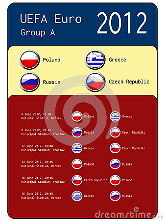 Football 2012 match schedule  - group A Editorial Image