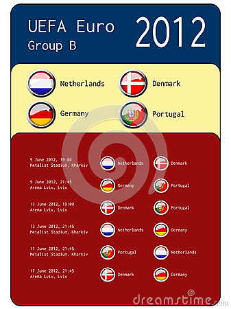 Football 2012 match schedule  - group B Editorial Stock Image