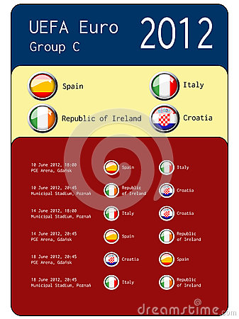 Football 2012 match schedule  - group C Editorial Stock Image