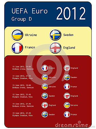 Football 2012 match schedule - group D Editorial Photography