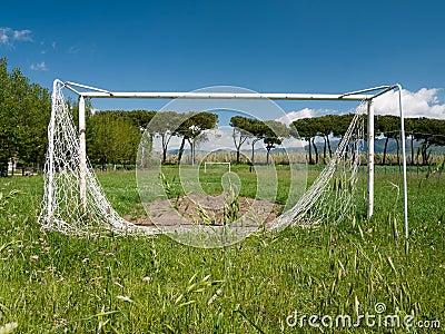 Football aka soccer pitch, unused, dilapidated