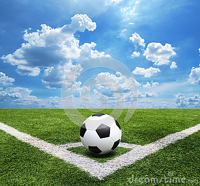 Free Football And Soccer Field Grass Stadium Blue Sky Background Royalty Free Stock Photos - 40764618