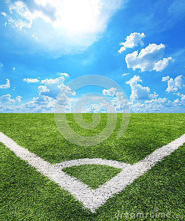 Free Football And Soccer Field Grass Stadium Blue Sky Background Stock Photography - 40764672