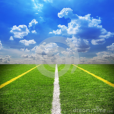 Free Football And Soccer Field Grass Stadium Blue Sky Background Stock Images - 40764674
