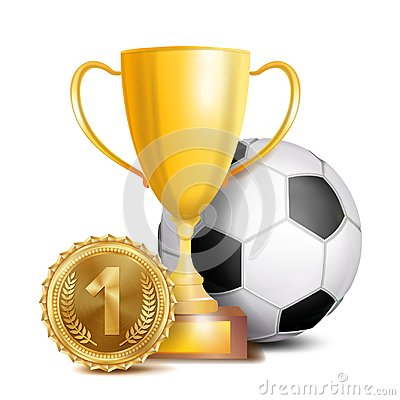 Free Football Award Vector. Sport Banner Background. Ball, Gold Winner Trophy Cup  Stock Images - 105303704