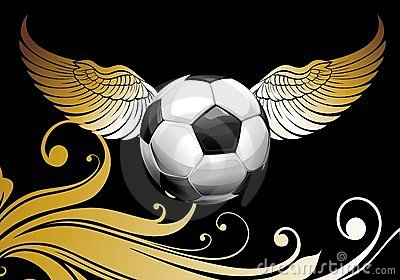 Football background with ball and wings