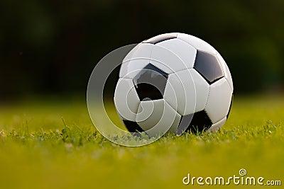 Football ball on green field