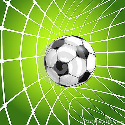 Football ball in a net. Goal