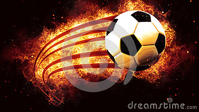 Football ball soccer on fire flames explosion burning