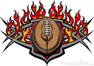 Football Ball Template with Flames Image