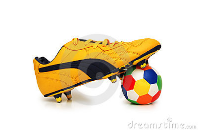 Football boot and ball isolated