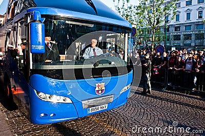 Football Club Barcelona bus Editorial Stock Photo