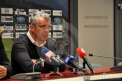 Football coach at a press conference Editorial Photography