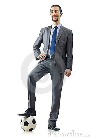 Football concept - businessman on white