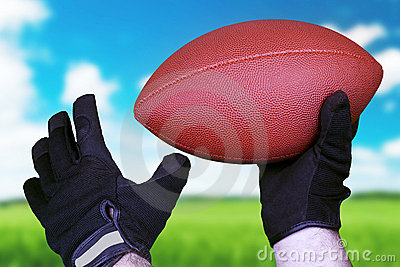 Football concept with a leather ball over grass