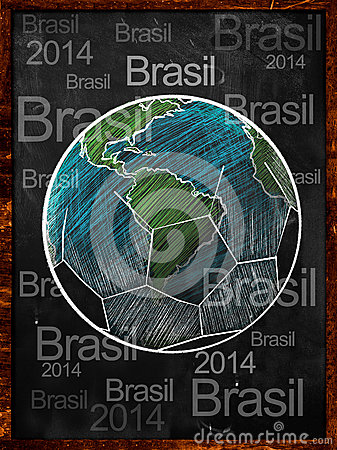 Football Earth Sketch blackboard brasil text