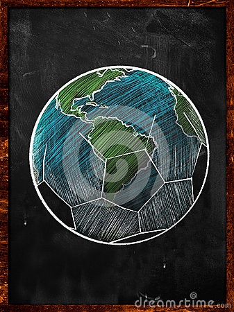 Football Earth Sketch blackboard