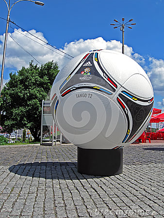 Football emblem on big Euro 2012 matchball,Kiev, Editorial Image