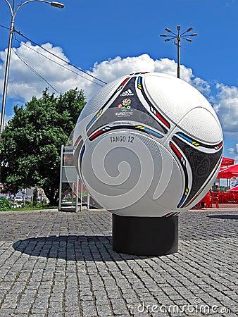 Football emblem on big Euro 2012 matchball,Kiev, Editorial Image