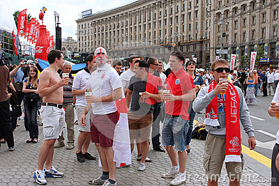 Football fans from England have fun Editorial Stock Image