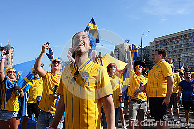 Football fans have fun during EURO 2012 in Kiev Editorial Photography