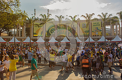 Football fans in new Maracana Stadium Editorial Stock Image