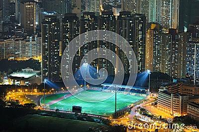 Football field night view