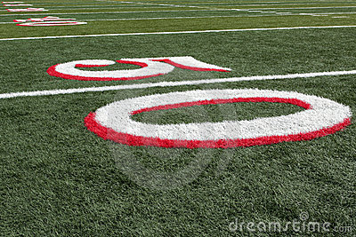 Football field view from 50 yard line