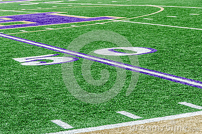 Football field on 50 yard line