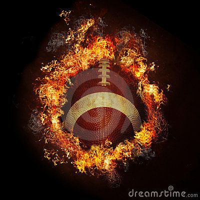 Football on fire Stock Photo