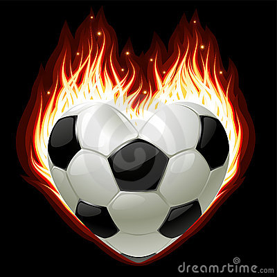 Football on fire in the shape of heart