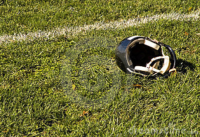 Football Goal Line and Helmet