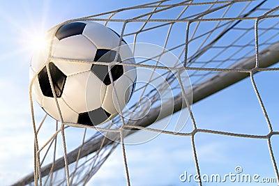 Football Goal, with sun and blue sky