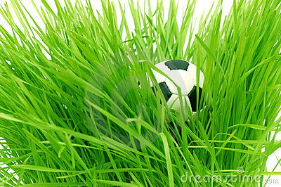 Football on green grass with text area copyspace