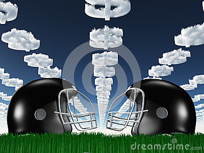 Football Helmet on Grass with Dollar Clouds