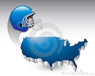 Football helmet over united states icon