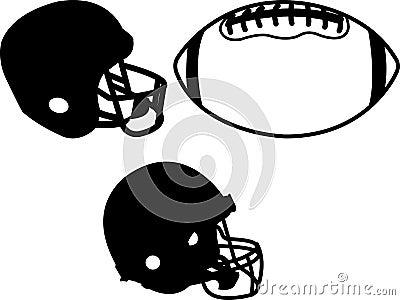 Football helmets and ball clipart