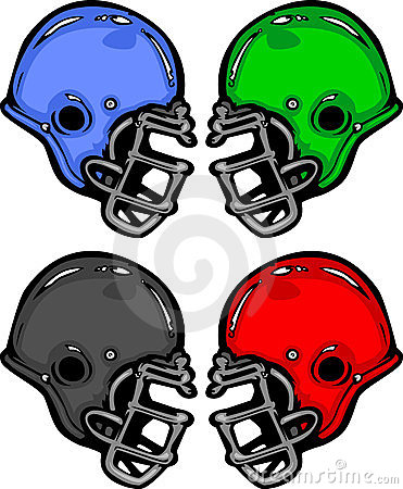 Football Helmets Cartoon Illustration