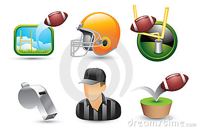 Football icons, referee, helmet, and whistle