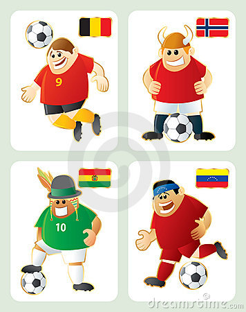 Football mascots BEL NOR BOL VEN