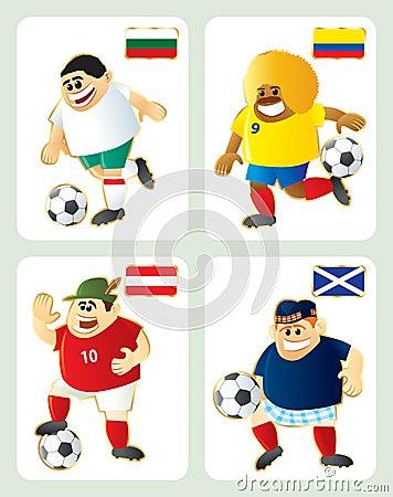 Football mascots BUL COL AUT SCO
