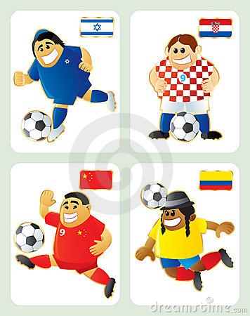 Football mascots ISR CRO CHI ECU