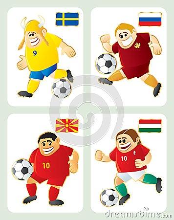 Football mascots SWE RUS MAC HUN