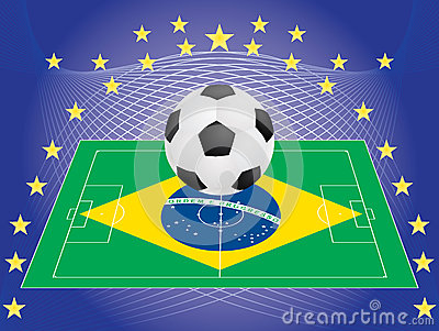 Football over pitch with Brazilian flag
