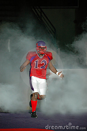 Football player in fog