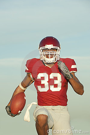 Football player in game action