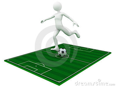 Football player kick the ball