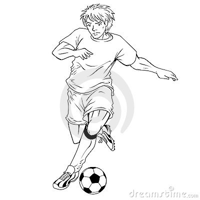 Illustration Of A Black And White Line Art Soccerfootball Player