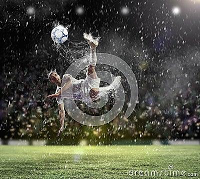 Free Football Player Striking The Ball Royalty Free Stock Image - 29641676